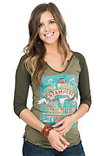 Panhandle Women's Moss Green with Stampede Print 3/4 Raglan Sleeve Tee