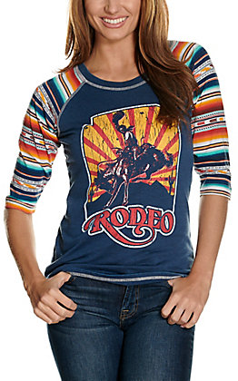 Panhandle Women's Navy with Rodeo Graphic 3/4 Serape Sleeves Casual Knit Top