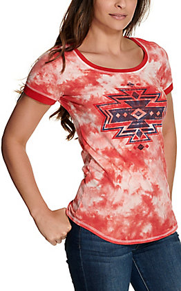Panhandle Women's Red and White Tie Dye with Navy Aztec Graphic Short Sleeve Tee