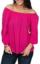 Panhandle Women's Pink 3/4 Sleeve Peasant Fashion Shirt