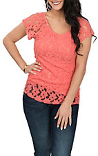Panhandle Women's Coral Lace Fashion Shirt