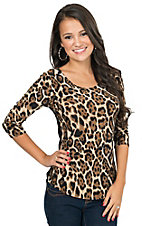 Panhandle Women's Leopard Print Scoop Neck 3/4 Sleeve Top