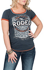 Panhandle Women's Blue and Orange Rodeo Graphic Casual Knit Shirt