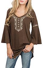 Panhandle Women's Brown Tunic w/ Embroidery 3/4 Sleeve Casual Knit Shirt