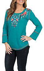Panhandle Women's Teal w/ Aztec Embroidery 3/4 Sleeve Casual Knit shirt