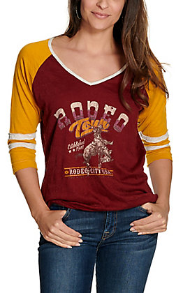 Panhandle Women's Maroon and Gold Rodeo Town Graphic 3/4 Sleeve Tee