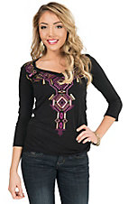 Panhandle Women's Black with Aztec Embroidery & Sequins V-Neck 3/4 Sleeve Knit Shirt