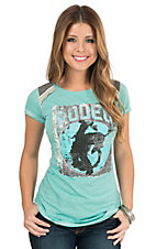 Panhandle Women's Heather Turquoise Rodeo Print Cap Sleeve Knit Shirt