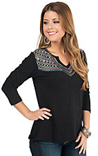Panhandle Women's Black with Colorful Embroidery 3/4 Sleeve Knit Shirt