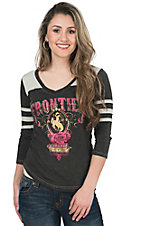 Panhandle Women's Distress Charcoal & Grey Frontier Print 3/4 Sleeve Knit Shirt