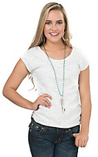Panhandle Women's Natural Knit Lace Cap Sleeve Top