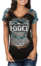 Panhandle Women's Cap Sleeve V-Neck Rodeo Screen Print Casual Knit Tee