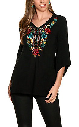 Panhandle Women's Black with Floral Embroidery 3/4 Sleeve Top