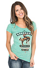 Panhandle Women's Mint Green with Western Design Cap Sleeve Casual Knit Top