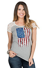 Panhandle Women's Grey with American Flag and Lace Cap Sleeve Casual Knit