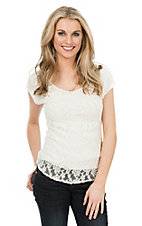 Panhandle Women's Ivory Lace Cap Sleeve Casual Knit