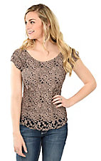 Panhandle Women's Beige with Black Accents Lace Cap Sleeve Casual Knit