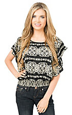 Panhandle Women's Black with Cream Aztec Print Butterfly Sleeve Fashion Top
