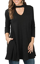 Panhandle Women's Black with Choker Neck 3/4 Sleeve Fashion Tunic Top