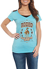 Panhandle Women's Turquoise Rodeo Screenprint V-Neck T-Shirt