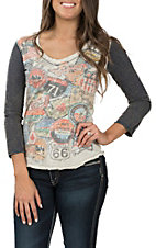 Panhandle Women's 3/4 V-Neck Travel Graphic Tee