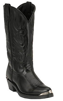 Laredo Men's Black with Silver Toe & Heel Rand Classic Western Boots