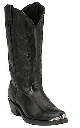 Laredo Men's Black with Silver Toe & Heel Rand Classic Western Boots