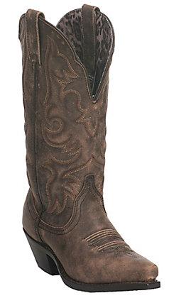 Laredo Women's Antique Brown Wide Calf Snip Toe Western Boot