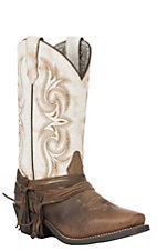 Laredo Women's Sand and White Cowboy Square Toe Western Boots