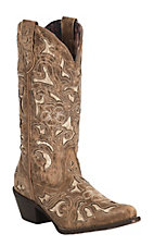 Laredo Women's Sharona Tan Crackle Sanded Goat with Bone Tool Underlay Snip Toe Western Boot