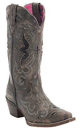 Laredo Women's Sanded Brown with Underlay & Studs Snip Toe Western Boots