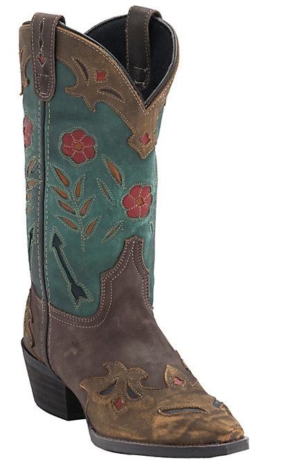 3e0d15963fa Laredo Women's Destroyed Brown with Turquoise Top Inlayed Snip Toe Western  boots
