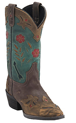 Laredo Women's Destroyed Brown with Turquoise Top Inlayed Snip Toe Western boots