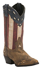 Laredo Women's Distressed Tan w/ Star Underlays & Flag Top Snip Toe Western boots