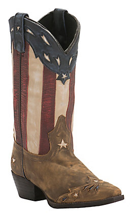 Laredo Women's Distressed Tan with Star Underlays & Flag Top Snip Toe Western boots