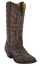 Laredo Runaway Ladies Brown Gaucho Fancy Stitch Snip Toe Western Boots