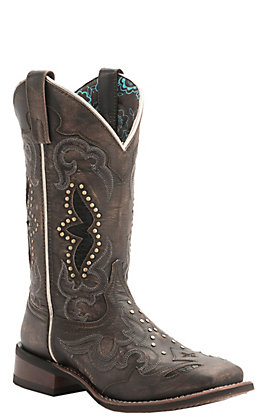 Laredo Women's Sanded Black with Underlay & Studs Square Toe Western Boots