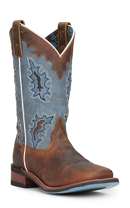 2bb60a3ec76 Laredo Women's Isla Tan Distressed Leather with Blue Denim Top Square Toe  Western Boots