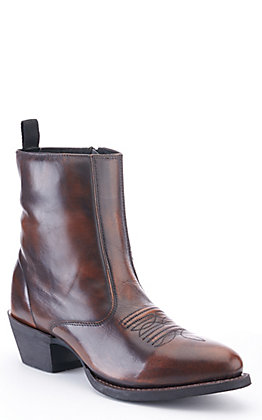 Laredo Men's Fletcher Marbled Brown Zip Up R-Toe Western Boot