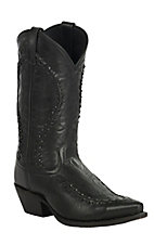 Laredo Men's Laramie Black Goat with Bucklace Snip Toe Western Boots