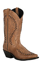 Laredo Men's Laramie Antique Tan with Bucklace Snip Toe Western Boots