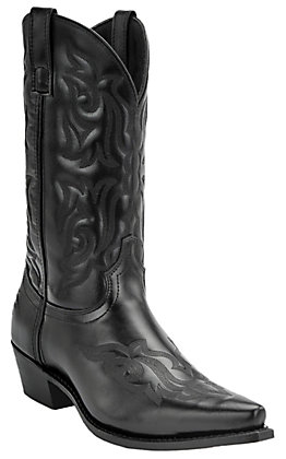 Laredo Men's Black Fancy Stitch 12 Inch Snip Toe Boot