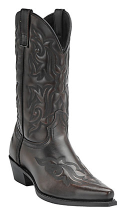 Laredo Men's 12'' Burnished Brown Fancy Stitch Snip Toe Western Boots
