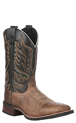 Laredo Men's Sand & Chocolate Wide Square Toe Western Boots