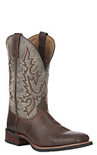 Laredo Men's Dark Brown with Grey Upper Heath Broad Western Square Toe Boot