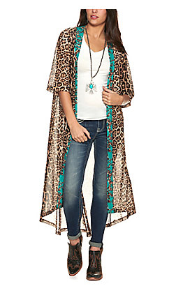 Crazy Train Women's Leopard Print with Turquoise Flowers 3/4 Sleeve Duster Kimono