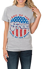 Women's Sport Grey Land Of The Free Graphic S/S T-Shirt