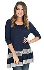 James C Women's Navy with Ruffled Bottom Hem 3/4 Sleeve Fashion Tunic Top