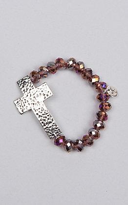 Laminin Lasso Silver Rondelle and Rustic Cross Pendant Bracelet