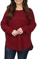 Anne French Women's Wine Button Sweater